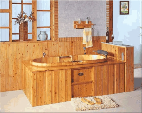 wooden bath with frame