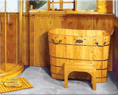 wooden bath, tall