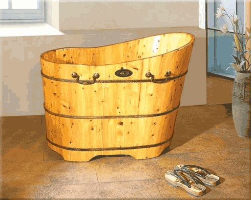wooden bathtub, metal handles
