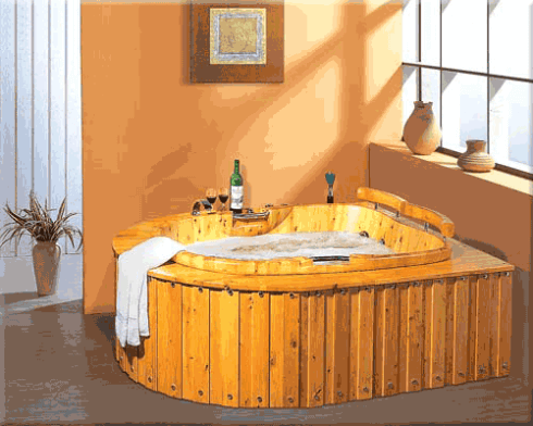 large wooden bathtub with base
