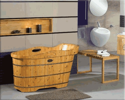 wooden bathtub, thick top, oval
