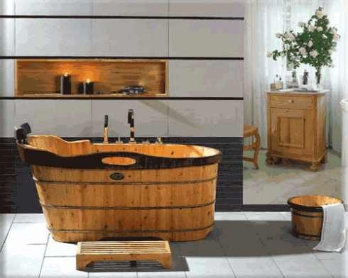 wooden bath, black top