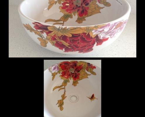 vessel sink floral