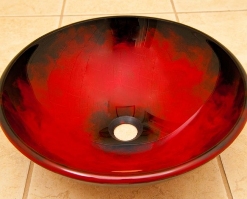 vessel sink red and black