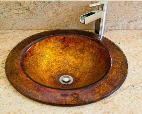 round vessel sink copper
