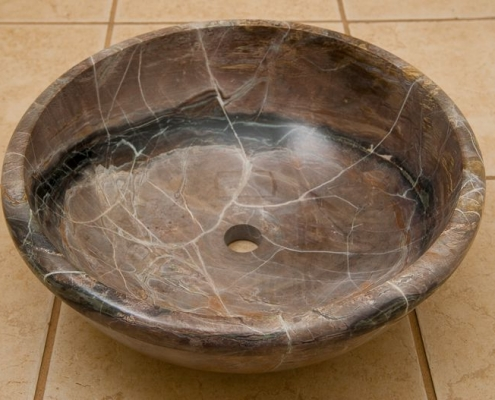 stone vessel sink brown
