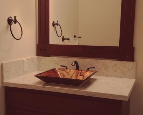 bathroom_downstairs with vessel sink